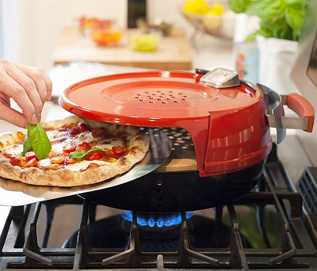 Pizzeria Pronto Stovetop Pizza Oven. As long as you've got a gas stove in your kitchen, this stovetop pizza oven will turn you into an at-home pizza chef. Its domed design quickly reaches a cooking temp of 600-degrees to cook your 12-inch homemade pies in just 6 minutes. It features a steel base & hood and comes with 2 cordierite pizza stones, ensuring crispy crust every time. $161