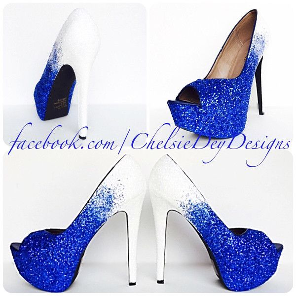 Glitter High Heels White Royal Blue Pumps Ombre Fade Peep Toe