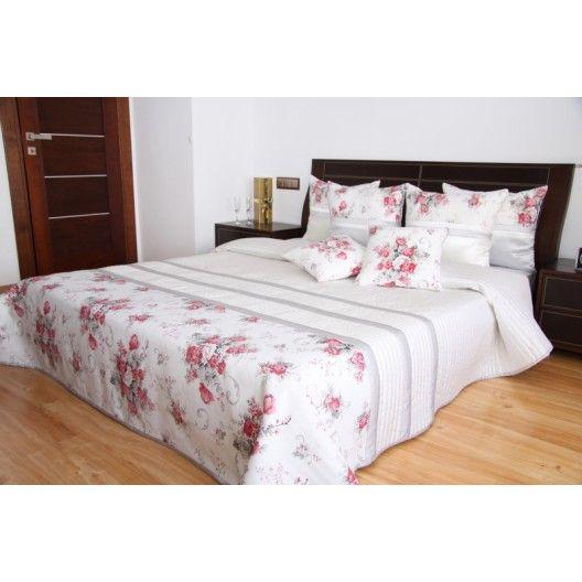 Přehoz na postel bílé barvy s motivem růží - dumdekorace.cz