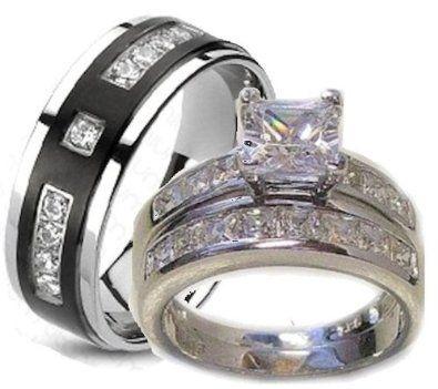 His Her Wedding Ring Set White Gold