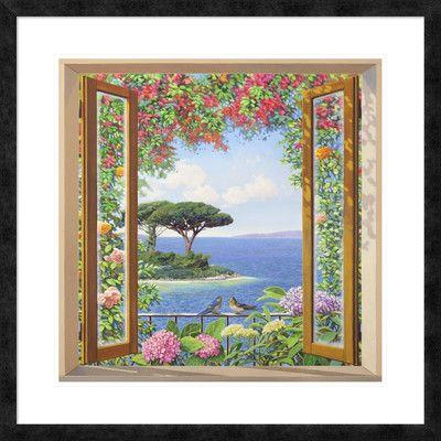 "Global Gallery 'Sulla costa mediterranea' by Andrea Del Missier Framed Graphic Art Size: 32"" H x 32"" W x 1.5"" D"