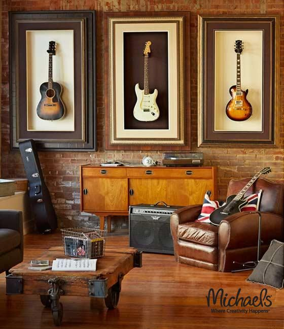 Custom Framed Guitars - our custom frame specialists can frame almost anything! Guitars can be removed for playing.