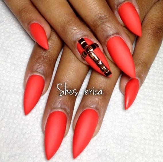 stiletto nails matte fire red nails pinterest