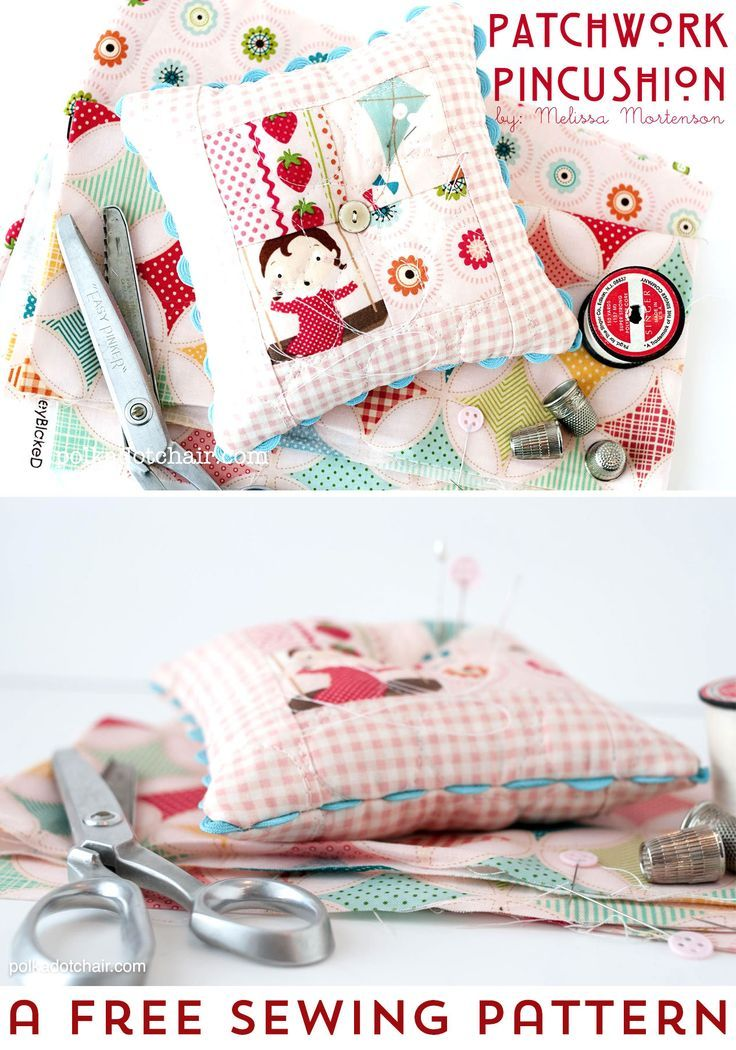 Free sewing pattern for a Patchwork Pincushion. Such a fun idea for a pincushion that you can sew
