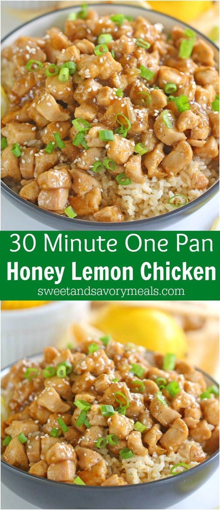Healthy Honey Lemon Chicken is one of the fastest, most delicious and flavorful dinners you can make in 30 minutes! Not fried and with no processed sugar! #chicken #chickenrecipe #asianrecipe #30minutedinner #healthyrecipes