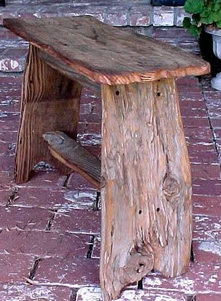 rustic wood bench is wonderful!
