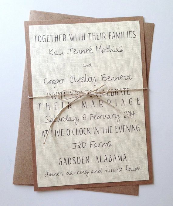 Rustic Modern Wedding Invitations by LemonInvitations on Etsy  good for blended families