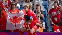 Christine Sinclair and the Women's Soccer team earlier today. What a great moment.
