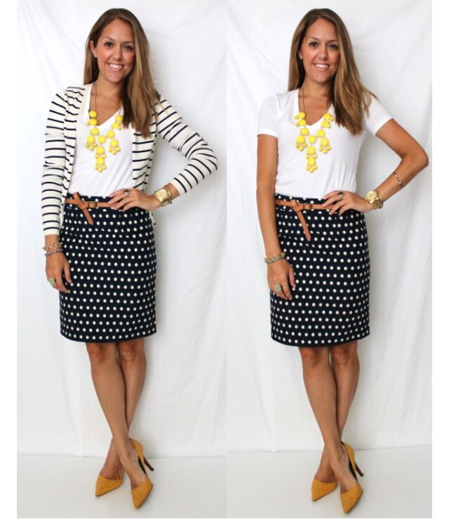 Love this outfit. I have the skirt and the tshirt. Now I just need the striped cardigan. :)
