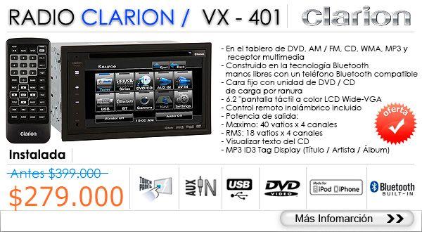 Especial precio de esta increíble radio Clarion VX-401