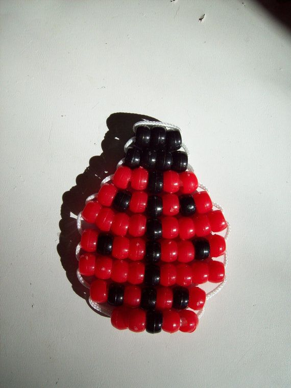Lady Bug Pony Bead Keychain by BeadedCreationsetc,