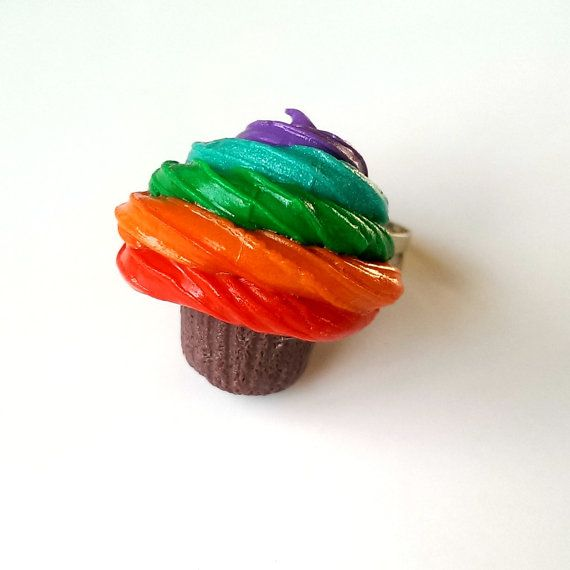Rainbow Frosted Cupcake Ring Polymer Clay Food by MalynsHandmade