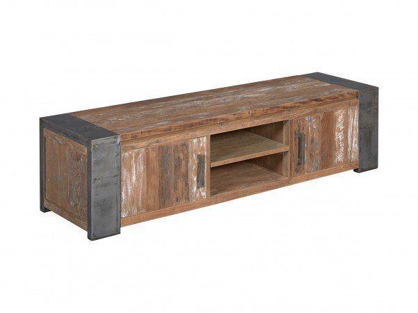 Stoer tv meubel oud teak met metaal 180 cm