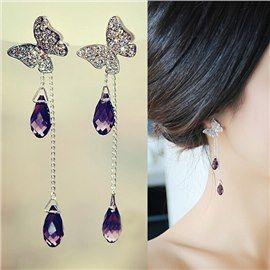 Boucles d'Oreilles Papillon Cristal Etoilé Frange