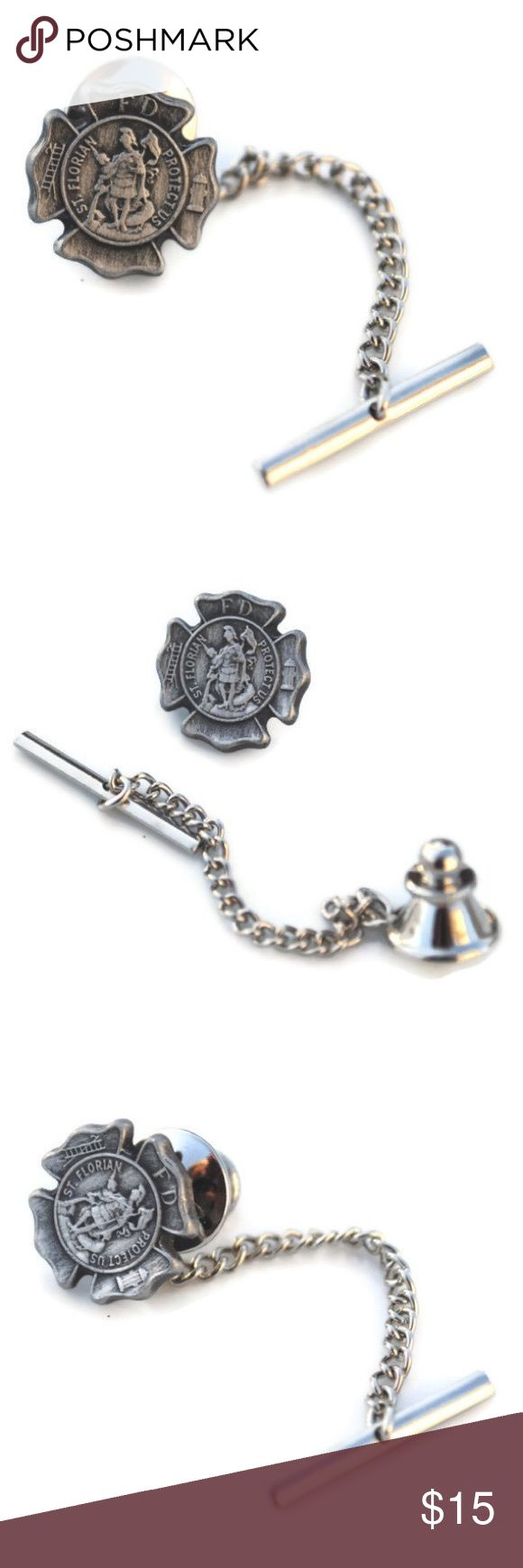 "Firefighter Tie Tack Patron Saint Florian Pewter Saint Florian the patron saint of firefighters tie tack.  Listing is for one with a pewter shield and silver tone back. The shield is 5/8"" x 5/8'  Most of our items are made with vintage pieces, findings, and are limited quantity. Because we do reclaim vintage items the pieces may have beautiful imperfections or patina that only adds to the charm Joann Ray Accessories"