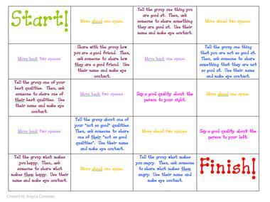Social Skills game to play to get kids talking about good qualities, friendship and feelings: