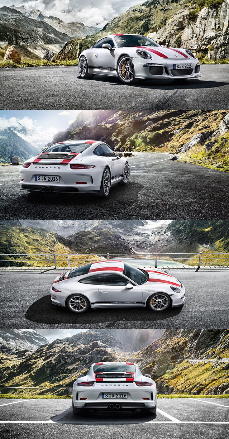 The design of new #911R is a homage: red or green design stripes, ventilation grilles and vintage '911 R' logo on the rear, supplemented on request by the 'PORSCHE' logo on the sides.  Learn more: http://link.porsche.com/911R-pin-gallery *Combined fuel consumption in accordance with EU 6: 13,3 l/100 km; CO2 emissions: 308 g/km.