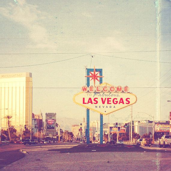 Las Vegas photography, Nevada travel, wedding, honeymoon vacation, retro sign, sin city casino gambling, fun, mandalay, mgm grand, art print. $110.00, via Etsy.