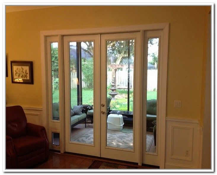 French patio doors with doggie door interior barn doors for Interior french patio doors