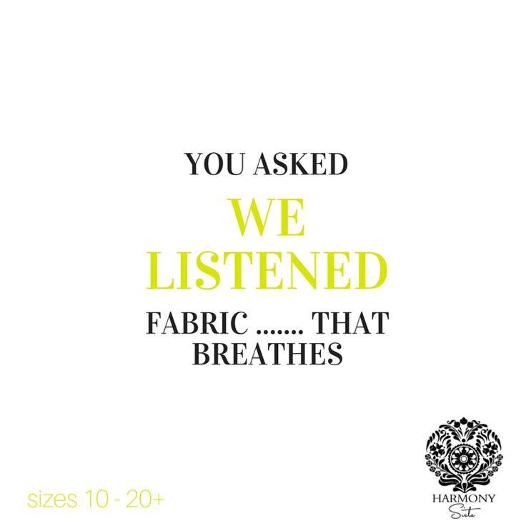 We Listen ...... Fashion that fits real women. SIZES 10 - 20+  www.harmonysista.com.au