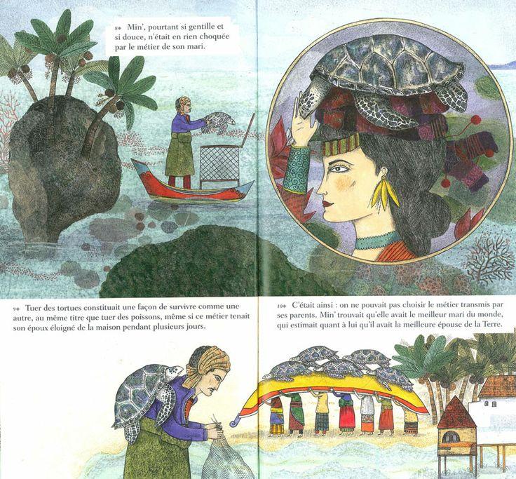 """Delphine Jacquot illustration for """"Ibou Min' et les tortues de Bolilanga""""."""