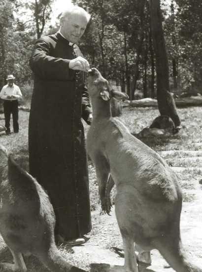 John Paul II feeding kangaroos at the Healesville sanctuary, during a 1973 visit to Australia.