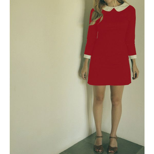 Red Dress With White Collar Mod Santas Helper Dress With Peter Pan... ($65) ❤ liked on Polyvore featuring dresses, grey, women's clothing, vintage day dress, 3/4 sleeve dress, vintage dresses, cotton dress et red cotton dress