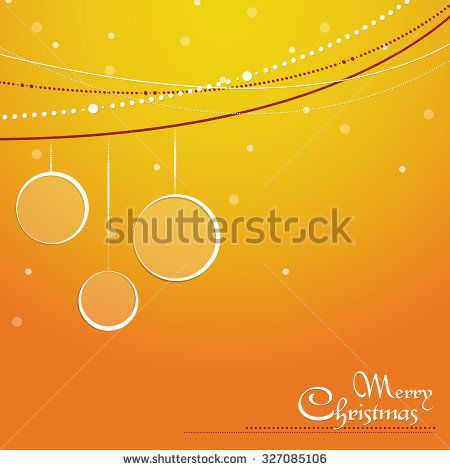 Christmas vector orange background with bubbles, bauble, decorative string and snow - stock vector