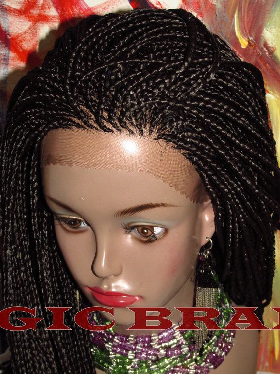 Fully Braided Lace Front Wig Corn Row Box Braids Color 1