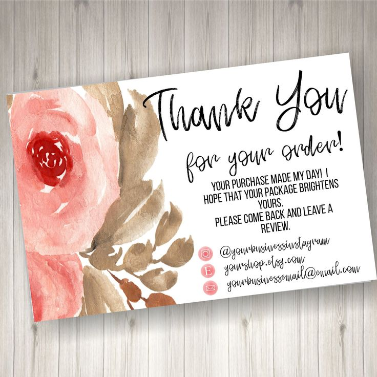 printed thank you cards for small business 60 count  etsy