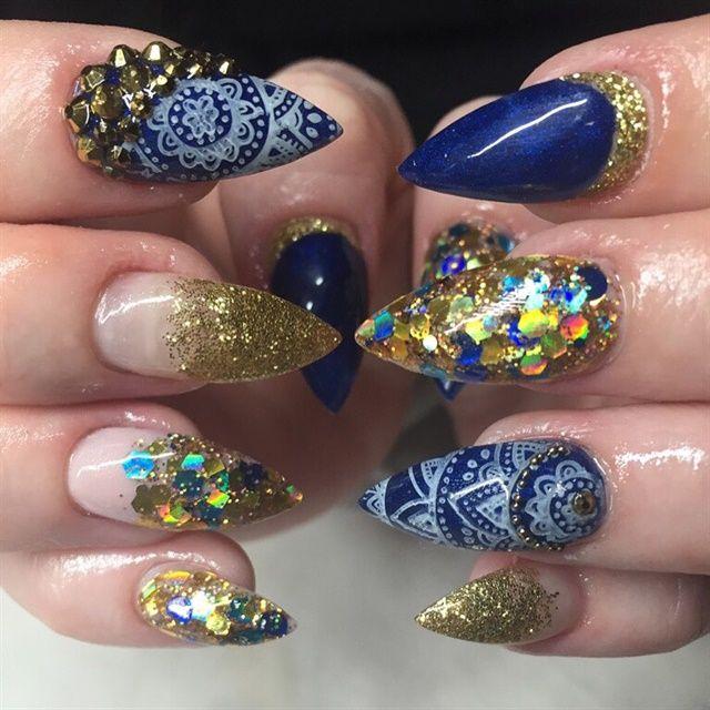 Day 157: Denim  & Blue Bling Nail Art