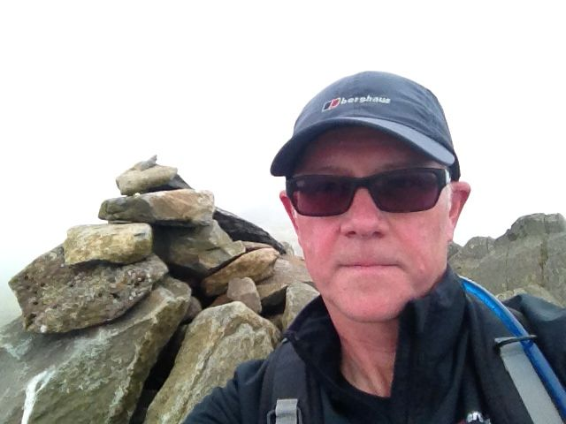 Bow Fell, The Lake District -  The summit in lots of mist Sept 14