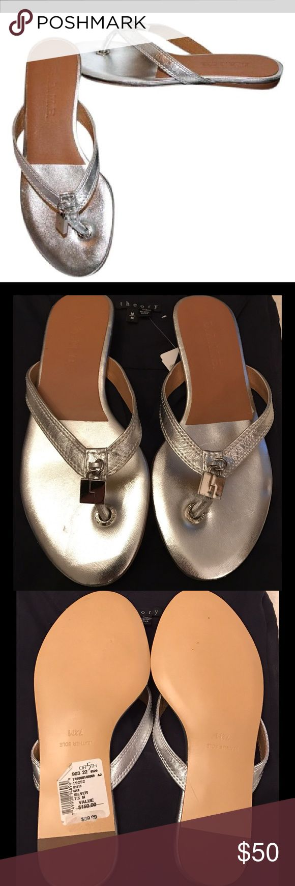 LAMB Thong Silver Flat Sandals 💜 LAMB Thong, Silver Flat Sandals. Size 7.5, New with Tags. No box. Slight scratch on bed of right shoe. Great shoe when you want comfort but don't want to wear flip flops! 💜 LAMB Shoes Sandals