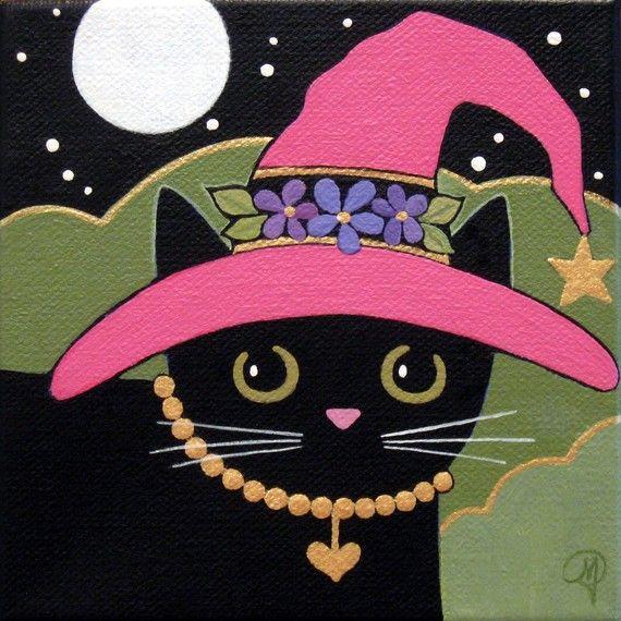 GOOD Witch Black CAT with Pink HAT Original by WildSunflowerStudio