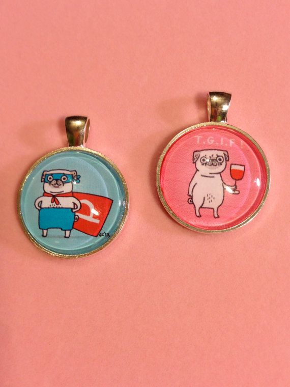 Gemma Correll Super Pug or TGIF  Pendant to support pug rescues by WhimsicalMystical, $12.00