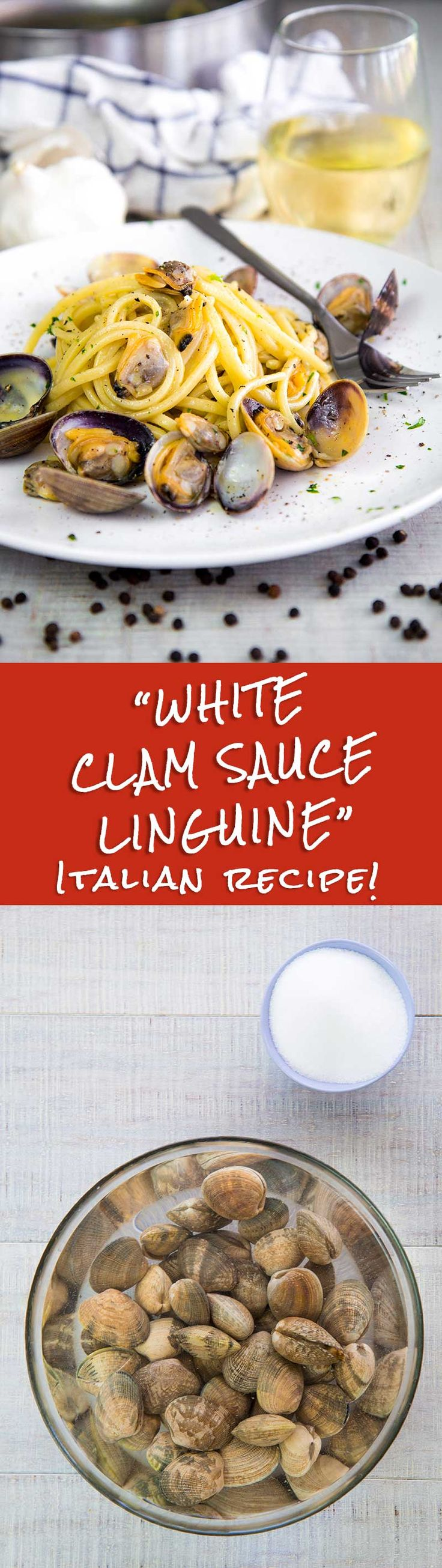 WHITE CLAM SAUCE LINGUINE Italian recipe - White clam sauce linguine is a classic Italian! This sauce is very simple but needs prime quality ingredients; the more the shellfish are fresh, the more the clam sauce will be tasty! Personally, I love to add a teaspoon of grated lemon peel combined with minced parsley just before serving; a sweet and sour taste that pairs greatly with the salty flavor of the clams!  healthy Italy family dinner recipes black pepper recipe shellfish