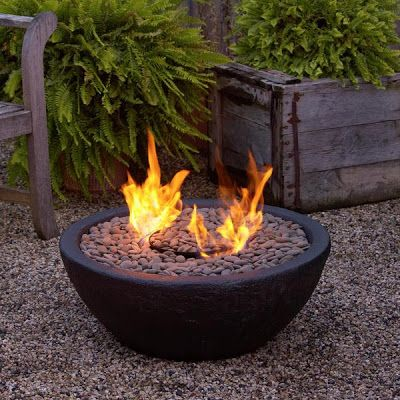 Restoration Hardware Look-Alikes...just buy a pottery piece..fill with sand...Add tiki torches and fluid..cover with lava, stones or firepit crystals! Best part..it's cheap..no embers fly.