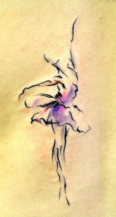 Graceful watercolor impressionistic dancer tattoo. Beautiful ballerina tattoo | dancer tattoo | watercolor tattoo | dance tattoo | tattoos for girls | female tattoos