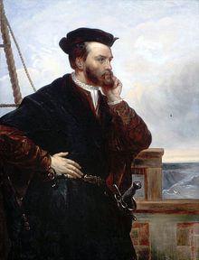 Jacques Cartier par Théophile Hamel, 1844, d'après un portrait disparu par François Riis (1839).- Dans une 2° expédition, l'année suivante, Cartier remonte le St-Laurent jusqu'à Hochelaga (Montréal) revient hiverner à Stadacone (Québec), mais son équipage ayant été décimé par le scorbut, il rentre en France (1536). Au cours de son 3° voyage (1541) il édifie un fort à Cap Rouge, près de Québec. Le récit de son 1° voyage parut en 1598. Le Bref Récit de son 2° voyage fut publié à en 1545