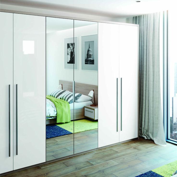 Image result for mirrored white gloss wardrobe doors