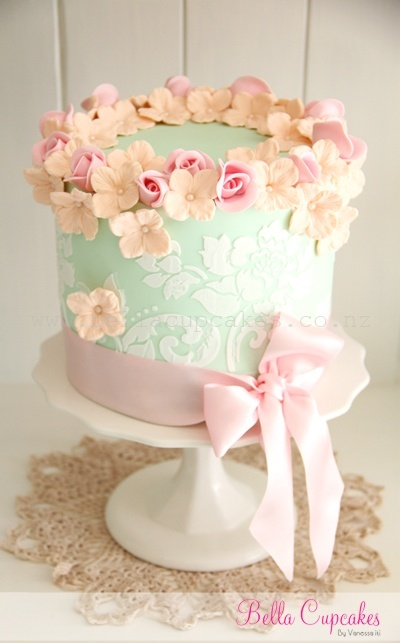 Mint green cake pink sugar flowers