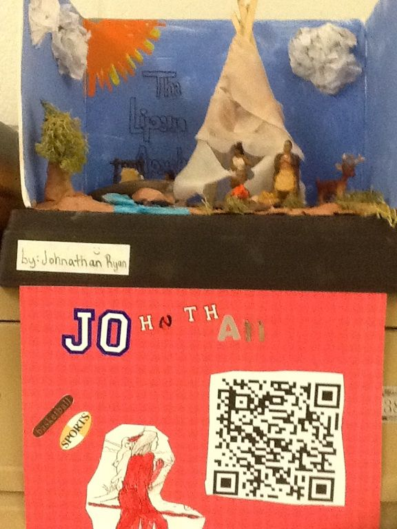 4th grade Indian diorama with QR code.