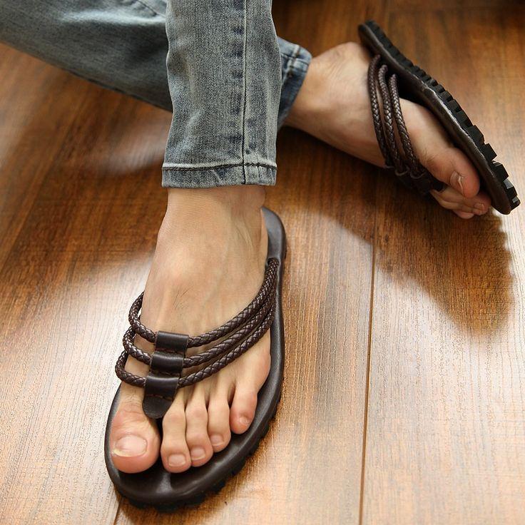 Sandalias masculinas de verano sandalias de cuero ocasionales del remache sandalias flip flop sandalias de moda en Sandalias de Hombre de Zapatos en AliExpress.com   Alibaba Group