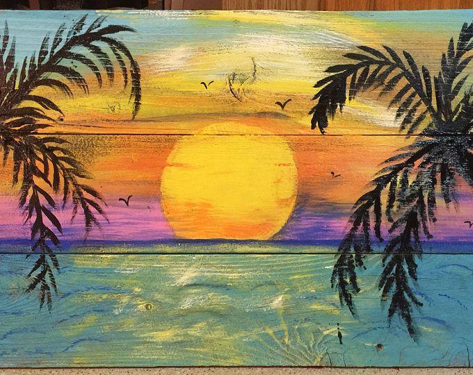Beach Palm trees Sunset CUSTOM sign 43×16 Large Palm trees, ocean, sunset, Rustic wood sign, beach wall hanging,beach decor,beach wall art