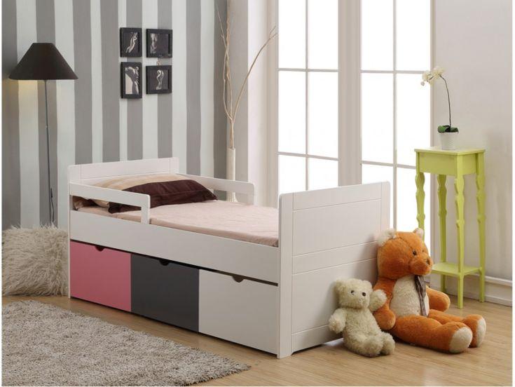 Kinderbett mit Schubladen & Lattenrost Pilou - 90x190 cm - Rosa