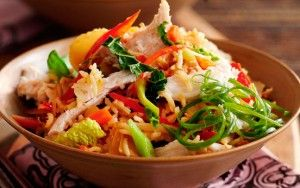 This Slimming World chicken stir-fry only takes 20 mins to rustle up and is pretty healthy too with plenty of stir-fry vegetables, light soy sauce and low-calorie cooking spray. This dish is cooked with rice instead of noodles but you can swap them for rice or egg noodles if preferred.Get the recipe: Slimming World's speedy vegetable and chicken rice