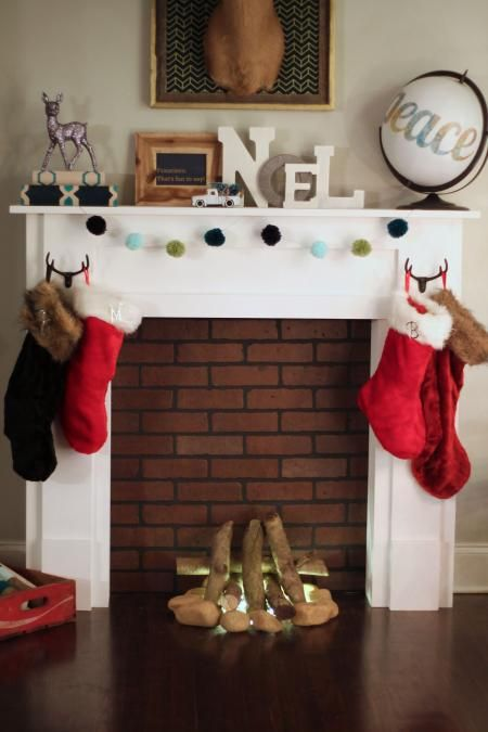"""Faux Mantel with """"Fire"""" 