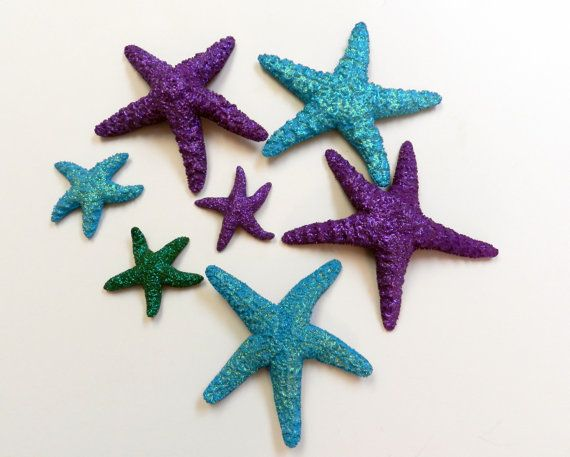 REAL Glitter Starfish Set The Little Mermaid Under The Sea Birthday Party /  Beach Wedding Table Decor