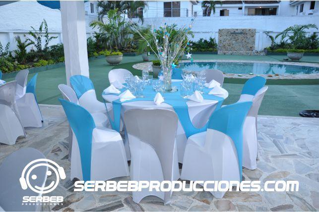 Decoración de Fiestas. Azul Cielo y Plateado excelente combinación para tu fiesta.