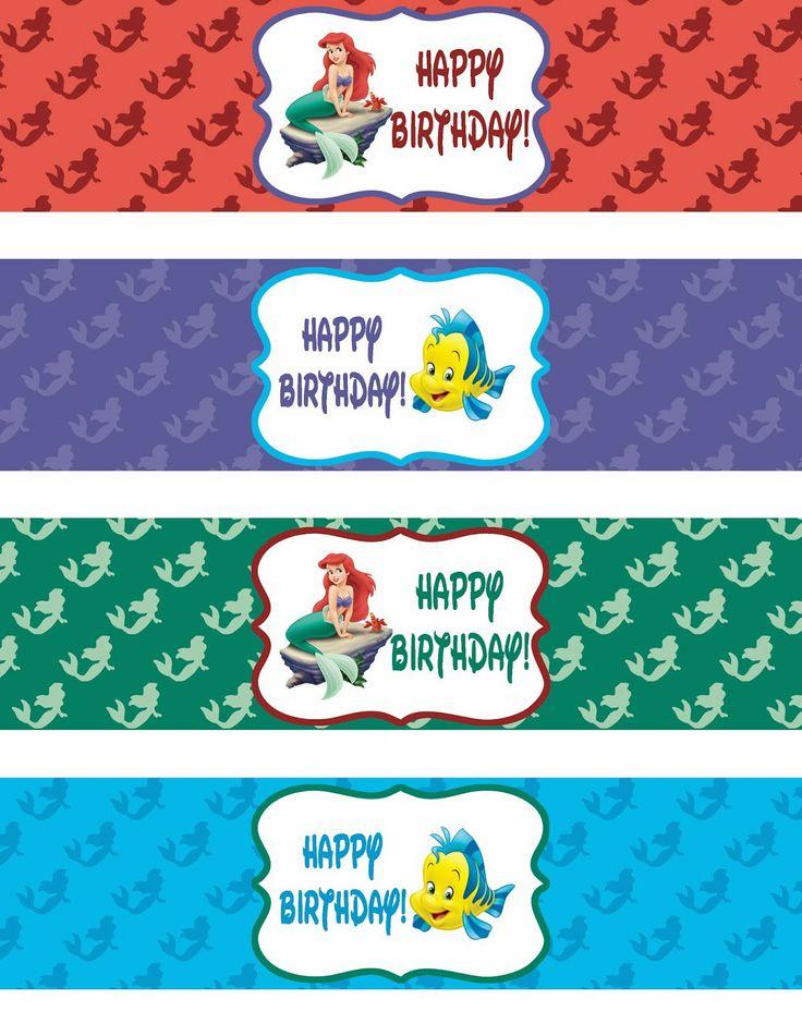 Binge Crafter: FREE Little Mermaid Happy Birthday Printable Water Bottle Labels
